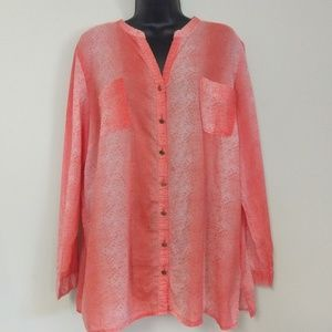 Jacyln Smith Sheer Coral Button down Shirt